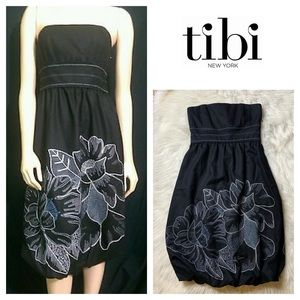 TIBI Floral Wool Embroidered Strapless Dress SZ.8